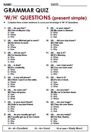 Wh Questions And How Questions Sweet Level 1 Writing